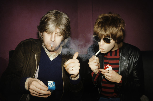Elliot Easton and Nick Lowe in Punk book by music photographer Michael Grecco