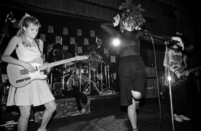 Punk rock girl band The Slits on stage